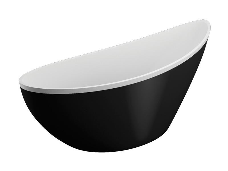 freistehende badewanne wei schwarz 180 x 80 x 60 cm. Black Bedroom Furniture Sets. Home Design Ideas