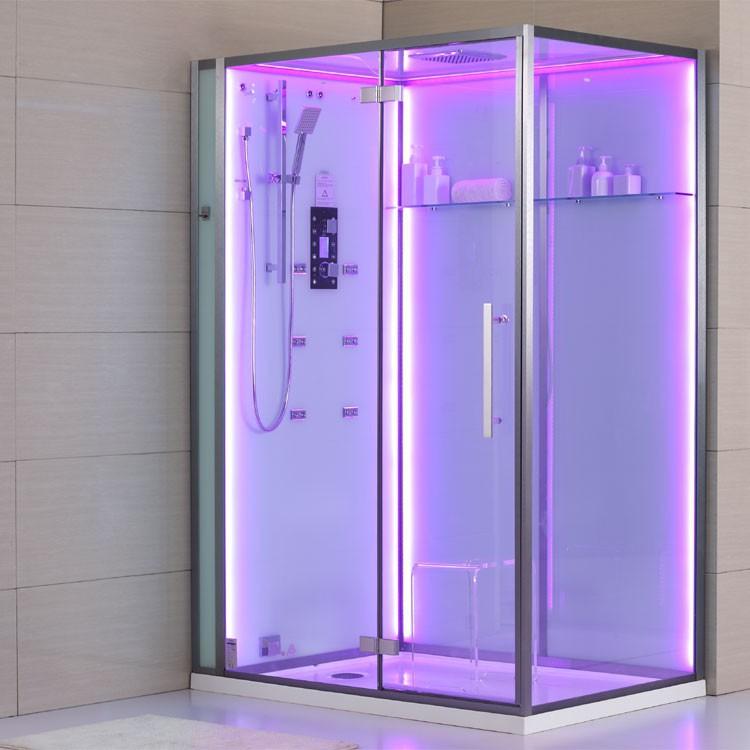dampfdusche wei mit beleuchteter r ckwand 150cm x 90cm dampfduschen alle duschen. Black Bedroom Furniture Sets. Home Design Ideas