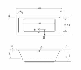badewanne acryl 180x80cm wannen rechteck badewannen. Black Bedroom Furniture Sets. Home Design Ideas