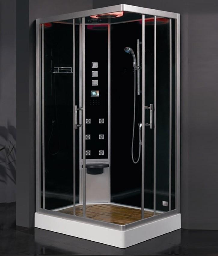 duschkabine dampfdusche schwarz ausf hrung links. Black Bedroom Furniture Sets. Home Design Ideas